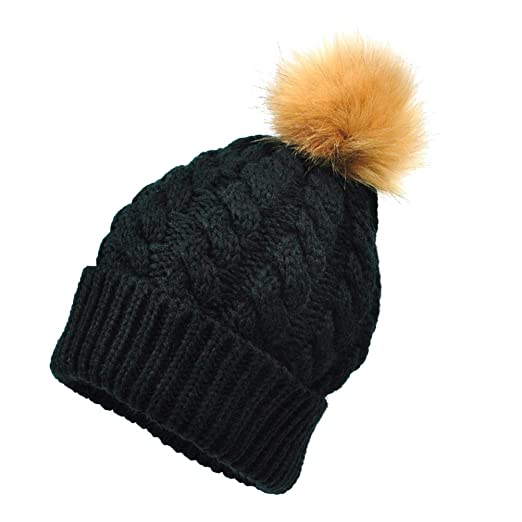 Amazon.com  TINKSKY Winter Hat Womens Girls Wool Knitted Beanie With ... 6704766e9f6