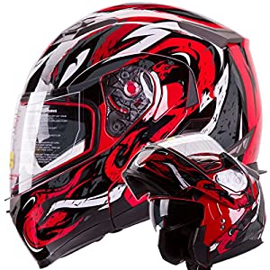 IV2 Red VIPER Dual Visor Modular Flip-Up Motorcycle Adventure Touring Helmet [DOT] - Large