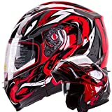 VIPER Modular Dual Visor Motorcycle / Snowmobile Helmet DOT Approved (IV2 Model #953) - RED (XL)