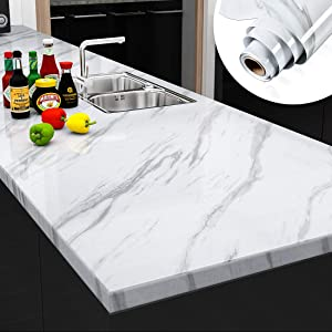 """YENHOME Large Size Jazz White Marble Peel and Stick Countertops Wallpaper for Kitchen Cabinets Self Adhesive Shelf Liner Waterproof Bathroom Wall Decor Wallpaper Stick and Peel 24"""" x 196"""""""