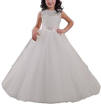 4004d3e16c2 Carat Elegant Long Flower Girl Dress Lace Beading Tulle Ball Gowns for  First Communion Dresses US