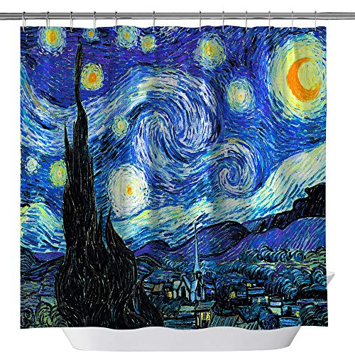 summer007 Van Gogh Starry Night Shower Curtain,Waterproof Polyester Fabric Shower Curtain for Bathroom, Bathroom Accessories with Hooks, 71X 71 ()