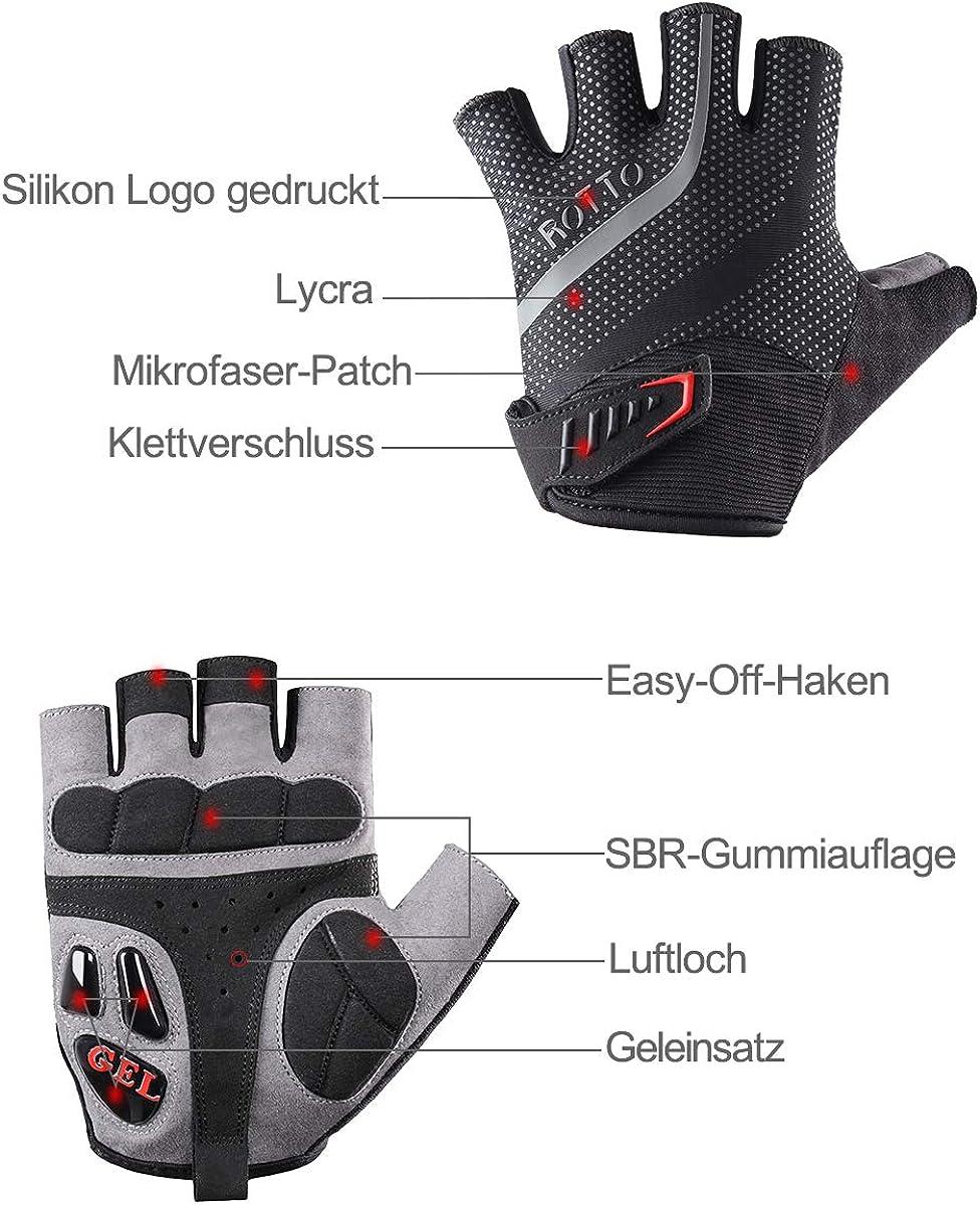 ROTTO Fahrradhandschuhe MTB Handschuhe Halbfinger Vollfinger f/ür Herren Damen mit Gel und SBR-Polsterung