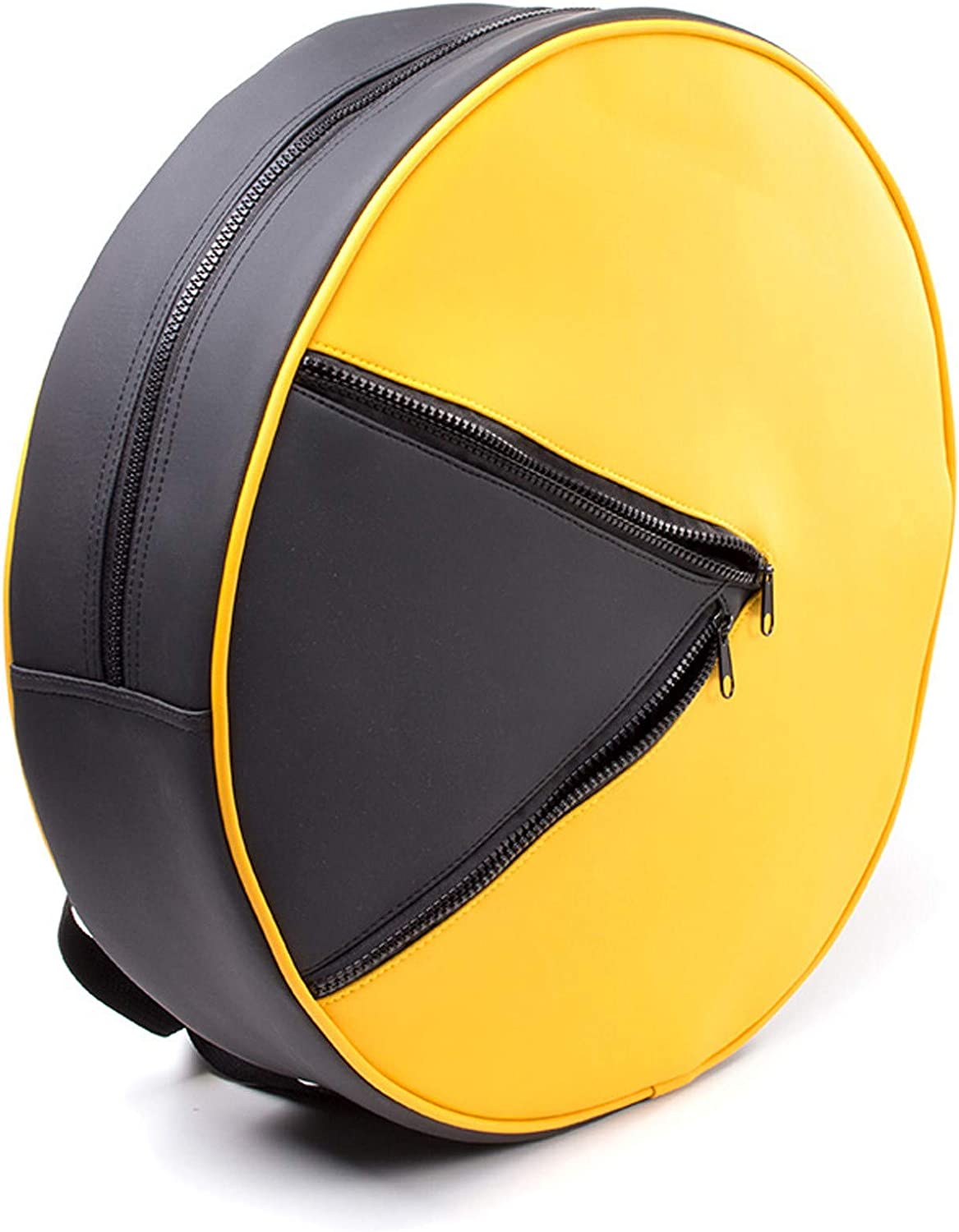 Official Licensed Pac-Man Shaped Round PU Yellow and Black Backpack Bag