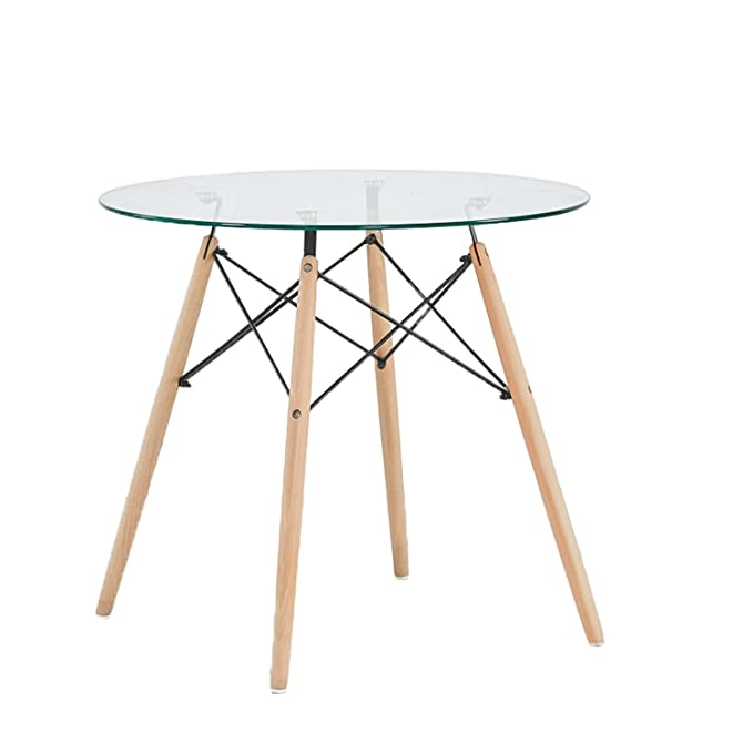 ac06f4049455b GreenForest Dining Table Round Clear Glass Table Modern Style Table for Kitchen  Dining Room Coffee Table