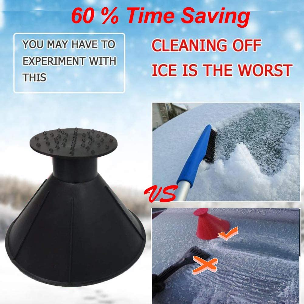 Deartisan Magical car ice Scraper Round Windshield Magical Car Windshield ICES Snow Remover Scraper Tool Portable Cone Shaped Round Winter Funnel Black