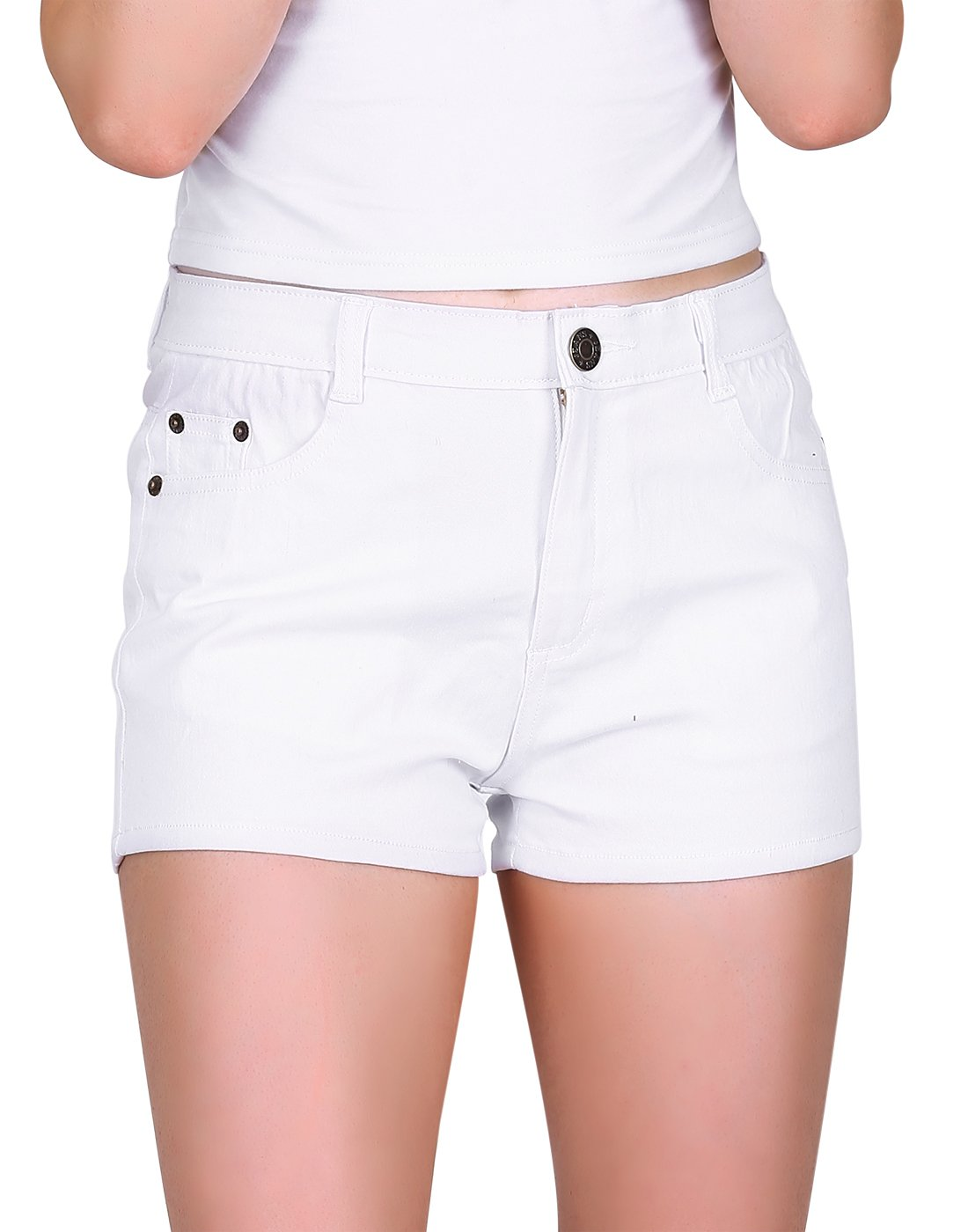HDE Women's Solid Color Ultra Stretch Fitted Low Rise Moleton Denim Booty Shorts (White, Large)
