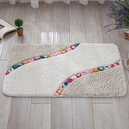 Ieasycan Rectangle Shape Garden Roses Mat Embossing Rugs Floor Mats Soft Comfortable Carpet For Living Room and Bathroom