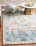 Unique Loom Rosso Collection Vintage Traditional Distressed Beige Area Rug (4′ x 6′) For Sale
