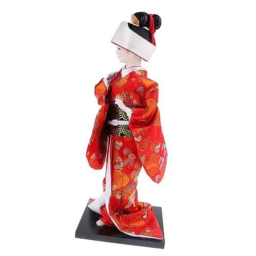 Prettyia Tradicional Japonesa Folk Kimono Geisha muñeca ...