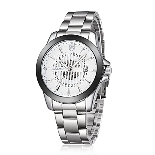 2015 Skone de nuevo diseño para hombre hueco mecanismo de reloj de movimiento automática de la banda de acero 504102, de plata de color blanco: Amazon.es: ...