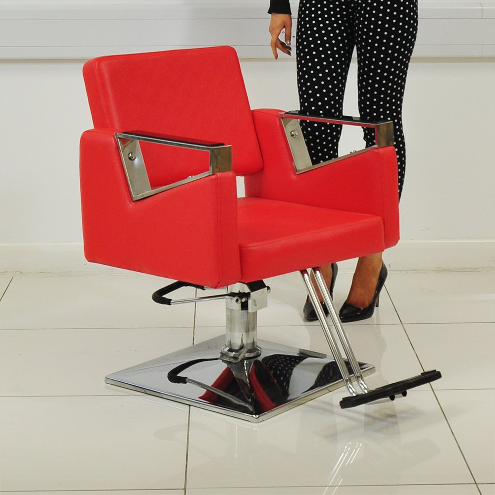 Red Leather Style Hairdressing Hairdresser Barber Saloon Swivel Chair Beauty4Less