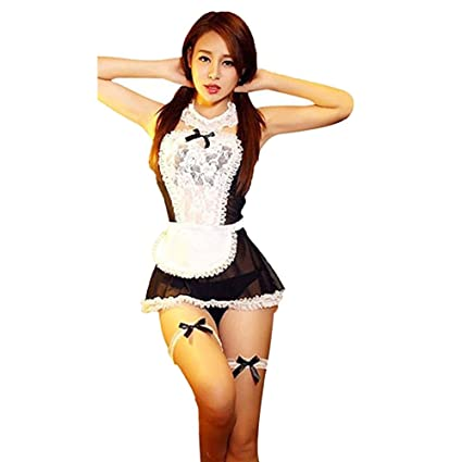 33f0f63bc4d Chinatera Sheer Lace Costume Cosplay French Maid Sexy Lingerie Outfit Fancy  Dress - - Amazon.com