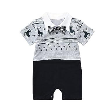 7bd398752a20 PLOT Baby Boys Romper Short Sleeve Gentleman Jumpsuit Clothes ...