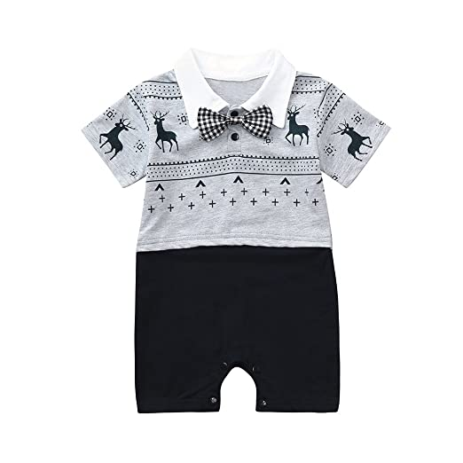 110d0c8ae8d Fineser Newborn Infant Baby Boys Gentleman Romper Jumpsuit Cute Overall  Pant Clothes (Gray B