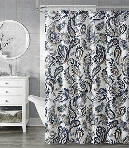GoodGram Blue White Navy & Tan Large Paisley Chic Fabric Shower Curtain - Standard Size