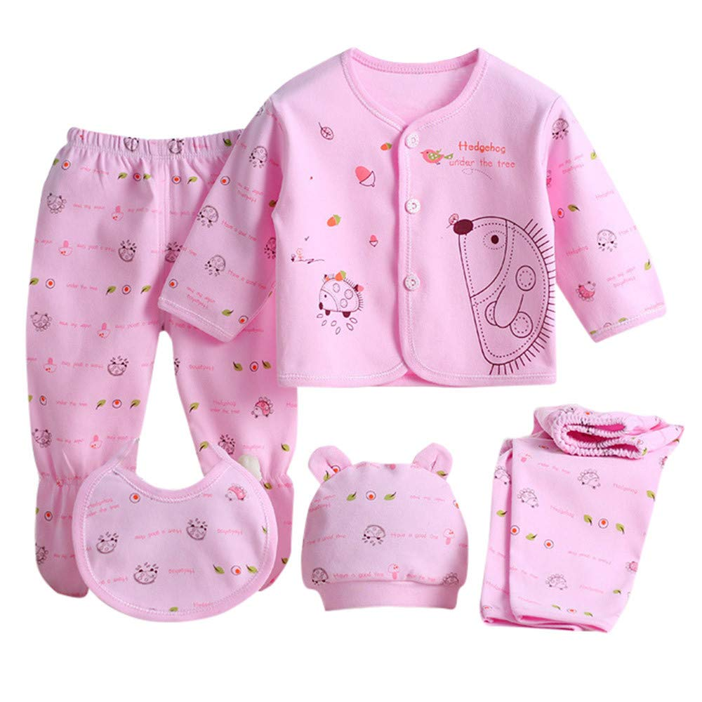 Hat Shirt Pants 5PCS for Gift NEWLUK Baby Clothes,Jumpsuit Long-Sleeved Cartoon Hedgehog Saliva Towel