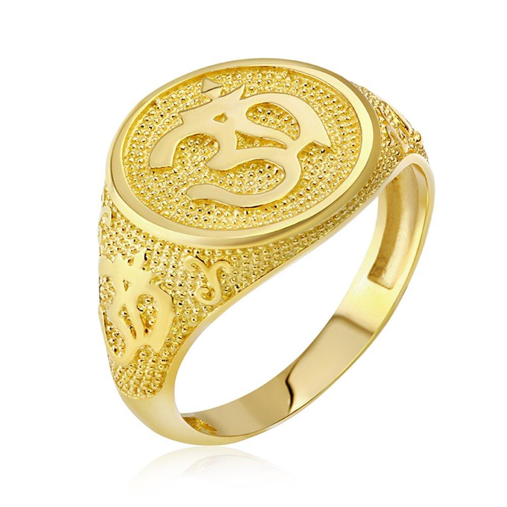 Men's 10k Yellow Gold Textured Band Hindu Om (Aum) Yoga Ring (Size 9)