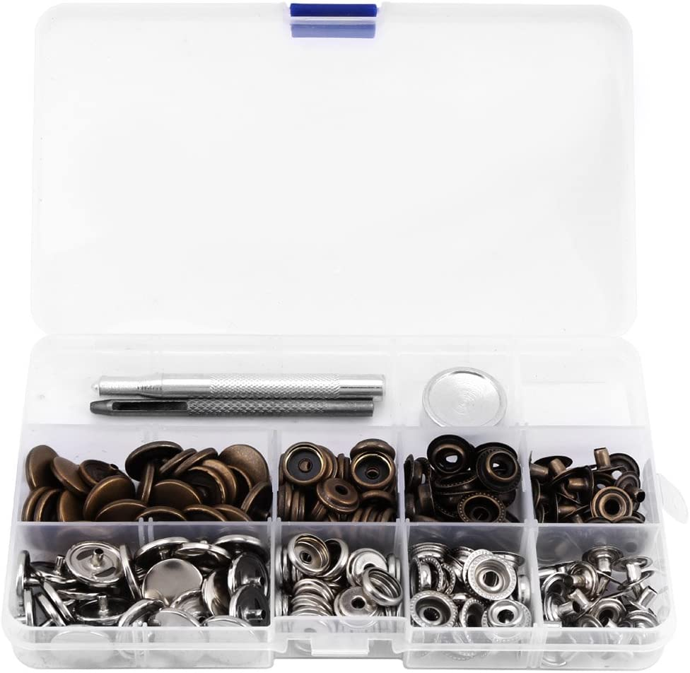1set Metal Snap Fasteners Kit Press Studs Buttons Tool Women Men Craft Leather