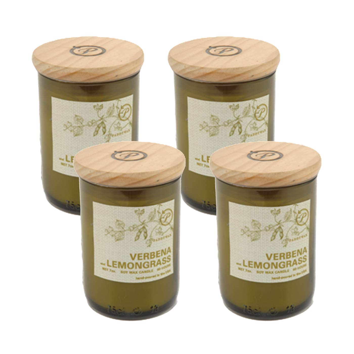 Paddywax Eco Green Recycled Glass Candle, 8-Ounce, Verbena & Lemongrass - Set of 4