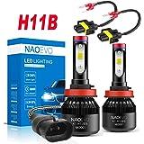 H11B LED Headlight Bulb, 60W 6400LM 6500K White Super Bright, NAOEVO H11B LED Headlamp Conversion Kit with H11B…
