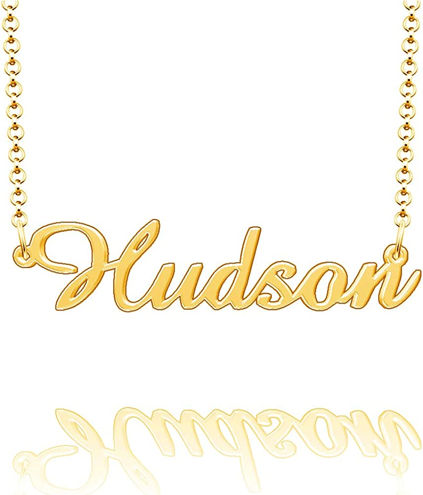 CLY Jewelry Personalized Last Name Necklace Custom Sterling Silver Hudson Plate Customized Gift for Family