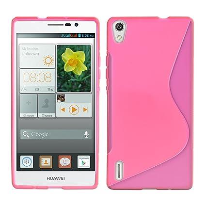 kwmobile Funda para Huawei Ascend P7 - Carcasa de [TPU] para móvil y diseño Ondulado en [Rosa Fucsia/Transparente]