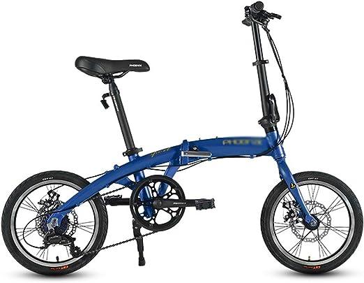 Paseo Bicicleta Bicicleta Plegable Velocidad de absorción de choques Coche Urbano portátil Hombres y Mujeres Adultos Bicicleta Mini Bicicleta 7 Archivos (Color : Blue, Size : 133 * 60 * 102cm): Amazon.es: Hogar
