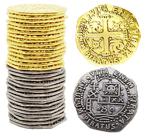 Metal Pirate Coins 32 Spanish Doubloon Large 32MM Replicas Fantasy Metal Coin Pirates Treasure By Well Pack Box