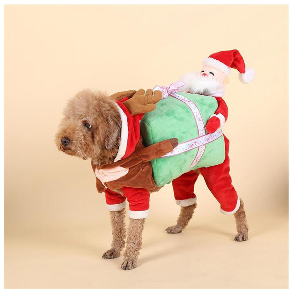Delifur Dog Christmas Costumes Dog Carrying Costume Santa Xmas Costume for Small Dog Cat Puppy (L)