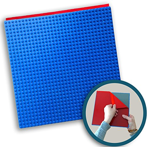 Creative QT Peel-and-Stick Baseplates - Self Adhesive Building Brick Plates - Compatible with All Major Brands - 1 Pack - Blue - 10 inch x 10 inch (Lego Junior Bricks)