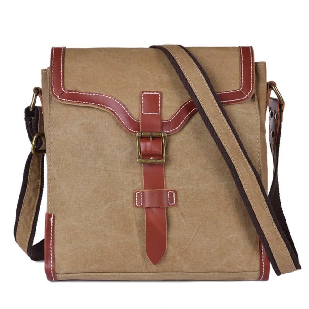 Sunmiao Casual Vintage Briefcase Zipper Waterproof Canvas Messenger Bag Shoulder Bag Color Khaki