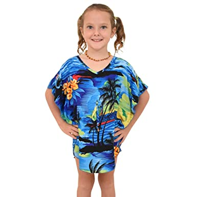 16bd42c5f6 Amazon.com: ISLAND STYLE CLOTHING Girls Kaftan Hawaiian Sunset Print ...