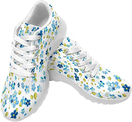 INTERESTPRINT Womens Running Shoes Skull and Flowers Pattern Print on Outdoor Sneakers