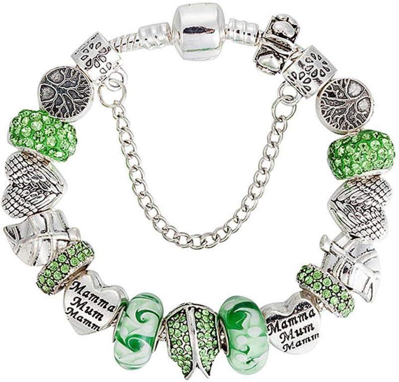 AIHU WENEWU Pulsera,Aleación de Hoja Grande con Perlas coloreadas Piedras Preciosas y Diamantes