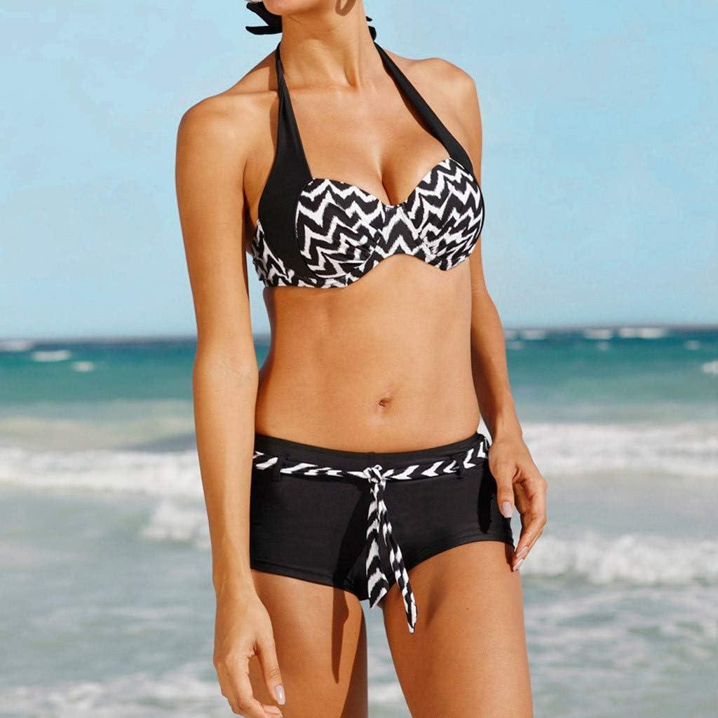 Anmain Costumi da Bagno da Donna in Bikini A Due Pezzi con Pantaloncini da Surf da Ragazzo Corto Senza Spalline Costumi da Bagno Interi Costume Intero Donna