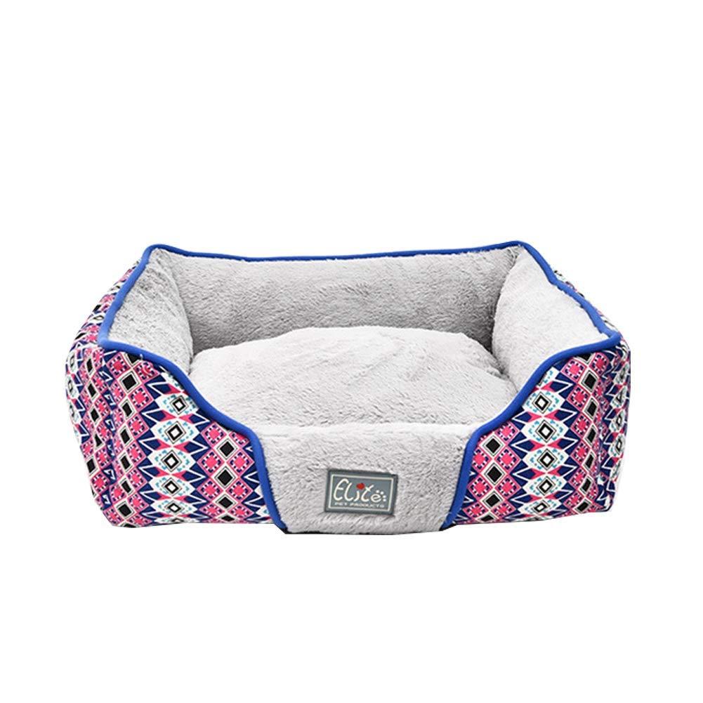 Grey SPet Bed Dog Nest Cushion Comfortable Short Plush Fabric Elasticity No Fading Non Slip Cushion Pad (color   Grey, Size   S)