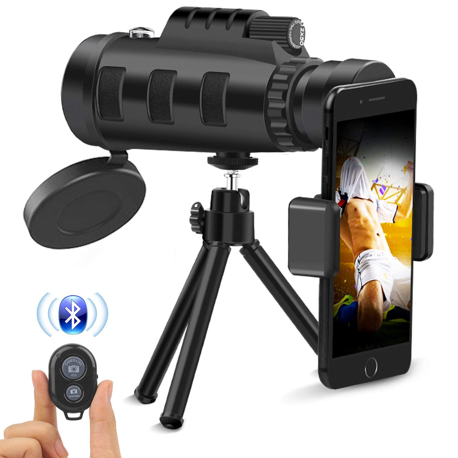 Monocular Telescope,12x50 HD Low Night Vision Waterproof High Power Prism Monocular Quick Smartphone Holder & Wireless Camera Shutter Remote Control Bird Watching Hunting Camping Travelling