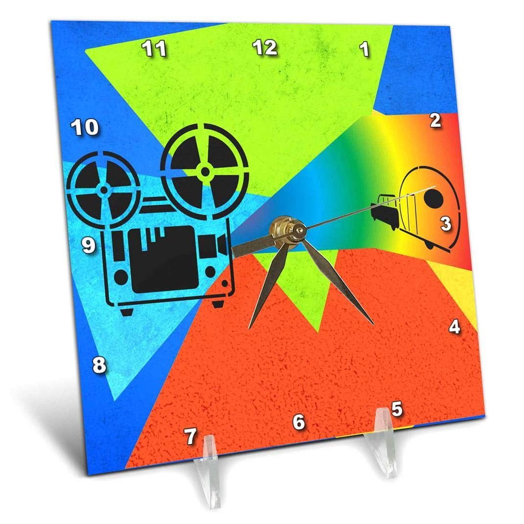 3dRose dc/_165409/_1 Movie Reel on Projectorin Vivid Colors Desk Clock 6 by 6-Inch