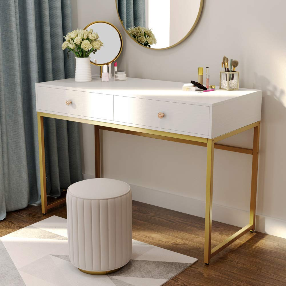 Tribesigns Computer Desk, Modern Simple Home Office Gold Desk Study Table Writing Desk Workstation with 2 Storage Drawers, Makeup Vanity Console Table (47 inch, White) by Tribesigns (Image #4)