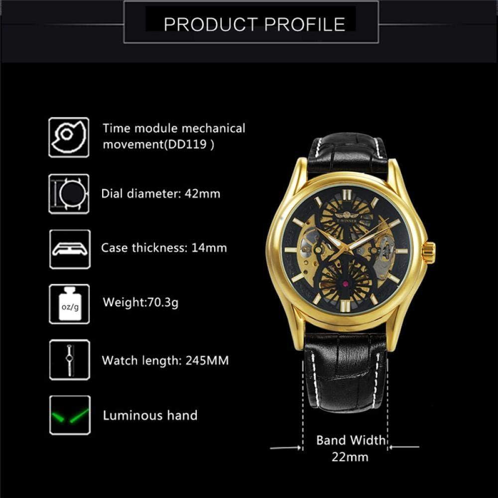 Montres Homme,Montre Mécanique Creuse pour Hommes avec Montre Mécanique Étanche Gold Shell