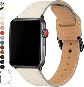 POWER PRIMACY Bands Compatible with Apple Watch Band 38mm 40mm 42mm 44mm, Top Grain Leather Smart Watch Strap Compatible for Men Women iWatch Series 6 5 4 3 2 1,SE(Rock/Black, 42mm 44mm)