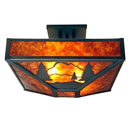 Steel Partners Lighting 3569-AB 8 SECONDS Four Post Drop Ceiling Mount with Amber Mica Lens Architectural Bronze Finish
