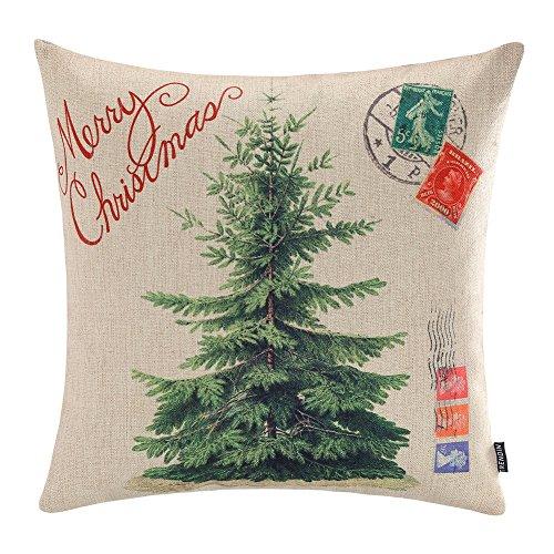 TRENDIN Merry Christmas Throw Pillow Cover Gifts Christmas Tree Xmas Home Decor Cotton Linen 18 x 18 Cushion Cover for Sofa PL072TR