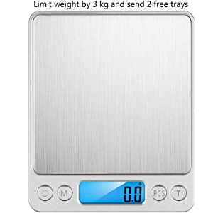 Digital Kitchen Food Scale Small Smart Weigh with LCD Display Electronic Precision Multifunction Scale for Jewelry, Home, Kitchen, Postage Pocket Scale, Batteries Included