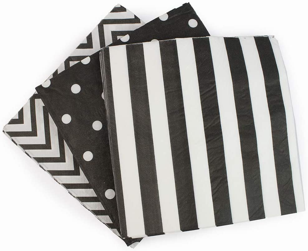"""Paper Napkins White Black, Decorative Dinner Luncheon Napkins for Party Events 60count, folded 6.5"""" x 6.5"""", unfolded 13"""" x 13"""""""