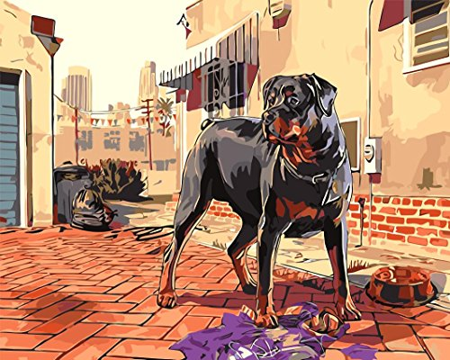 MailingArt Paint By Numbers Kits For Adults Kids With Wooden Frame - Rottweiler Dog