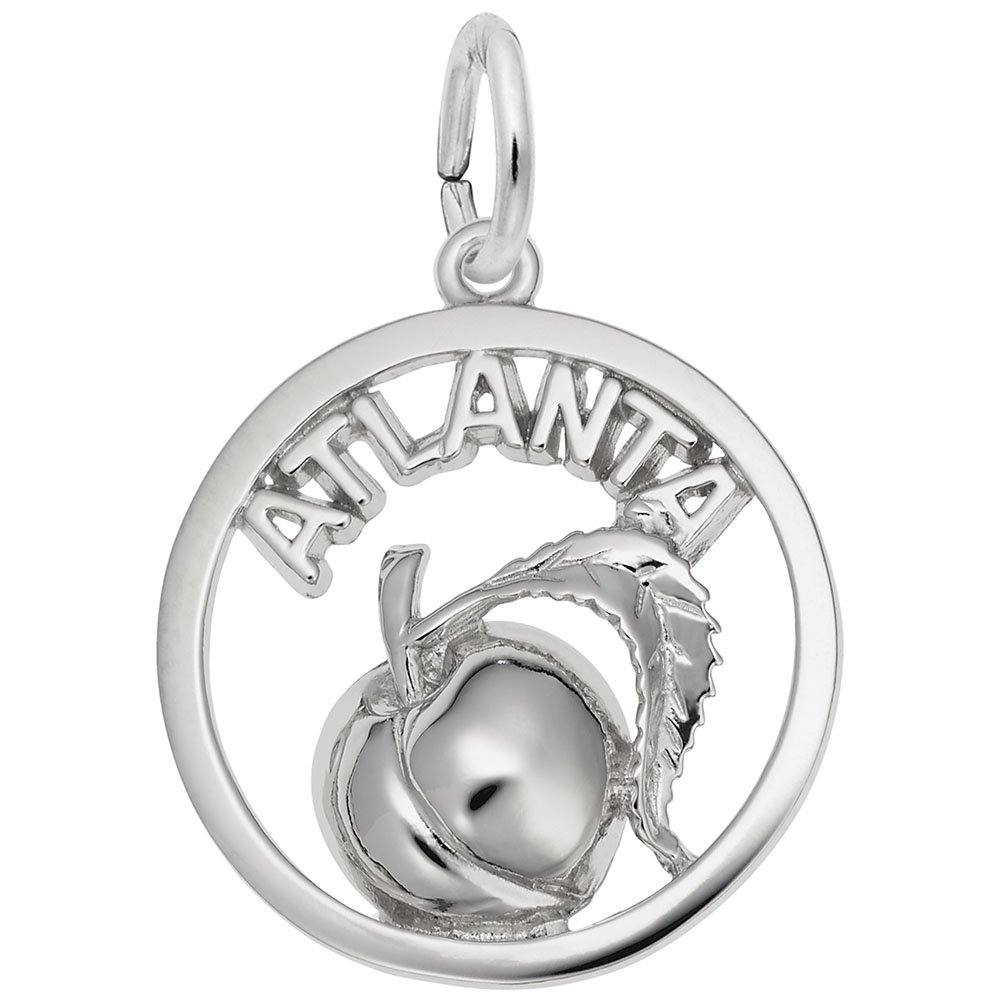 Atlanta Peach Charm In Sterling Silver, Charms for Bracelets and Necklaces