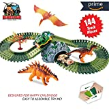 HOMOFY Dinosaur Toys Race Car Track Sets Jurassic World with 144 Pcs Flexible Tracks, 3 Dinosaurs,2 Led Cars,1 Tree and 2 In 1 Tunnel for 2 3 4 Year Old Girls and Boys (144 pcs dinosaur toys track)