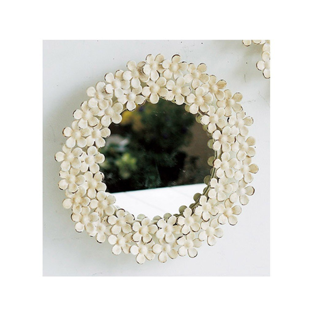 Time Concept Shabby Iron Floral Round Wall Mount Mirror Small Off White Frame Finish Bathroom Vanity D/écor ESP730